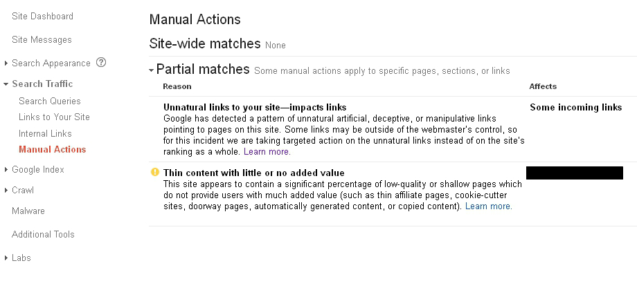 Partial Match Manual Actions + Thin Content